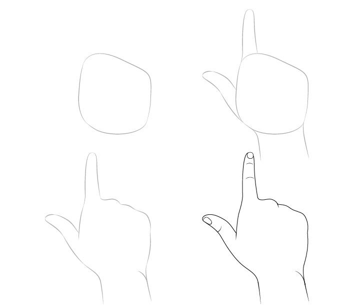 Jari menunjuk gambar tangan langkah demi langkah