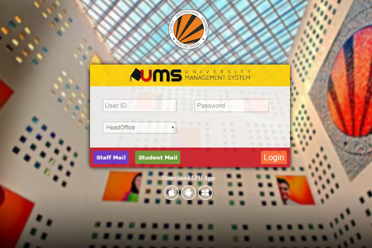 Lovely Professional University UMS (University Management System) Login Page Using HTML and CSS