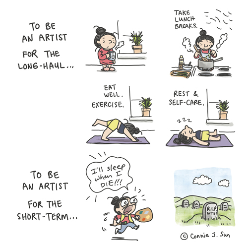 """How to be an artist for the long-haul. Panel 1 shows a girl with a bun and a hot cup of tea, fluffy slippers. Panel 2 shows girl cooking over a stove, with text """"Take lunch breaks."""" Panel 3 shows girl doing yoga; text reads """"Eat well. Exercise."""" Panel 4 shows girl asleep on yoga mat; text reads """"Rest and self-care."""" Panel 5, text only: """"To be an artist for the short-term…"""" Panel 6, crazed-looking artist running with a brush, exclaiming that """"I'll sleep when I die!"""" Final panel cuts to grave stone: """"R.I.P. Artist."""" From weekly webcomic series Connie Sun, cartoonconnie for Tinyview, ep 20 titled """"Long Live Artists"""""""