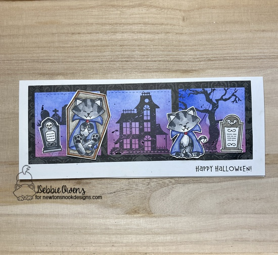 Happy Halloween by Debbie features Count Newton, Spooky Streek, and Slimline Frames & Windows by Newton's Nook Designs; #inkypaws, #newtonsnook, #halloweencards, #catcards, #cardmaking