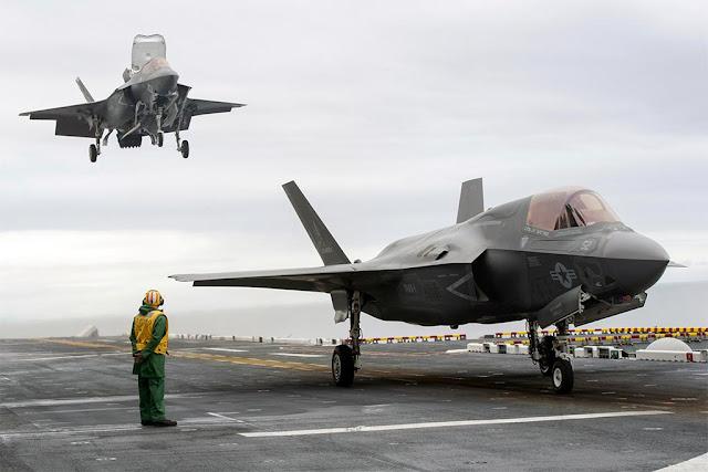 USAF pilots fly F-35B USS America