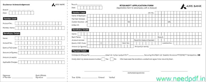Axis Bank RTGS/NEFT Form PDF -2021 (needpdf.in)