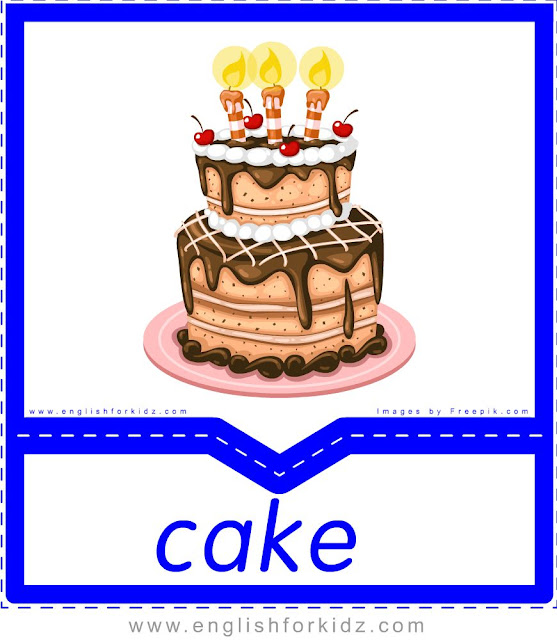 Cake - English food flashcards for ESL students