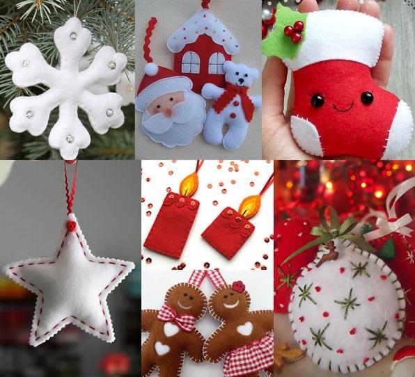50 moldes de enfeites para decoração de natal com feltro