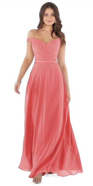 Best Quality Coral Chiffon Bridesmaid Dresses