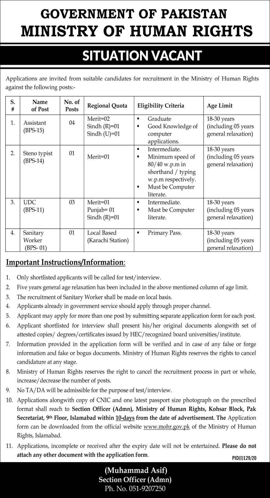 Ministry of Human Rights MOHR Jobs 2020 for Assistant, Steno Typist, Upper Division Clerk UDC & more