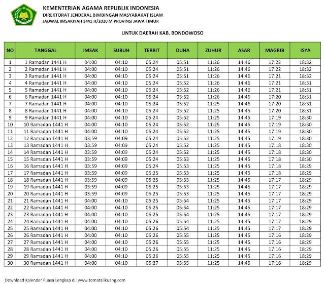 jadwal imsak waktu buka puasa Kabupaten Bondowoso 2020 m ramadhan 1441 h tomatalikuang.com