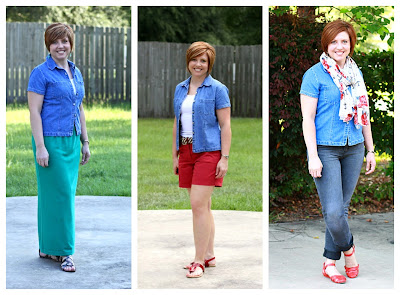 One chambray shirt=three ways