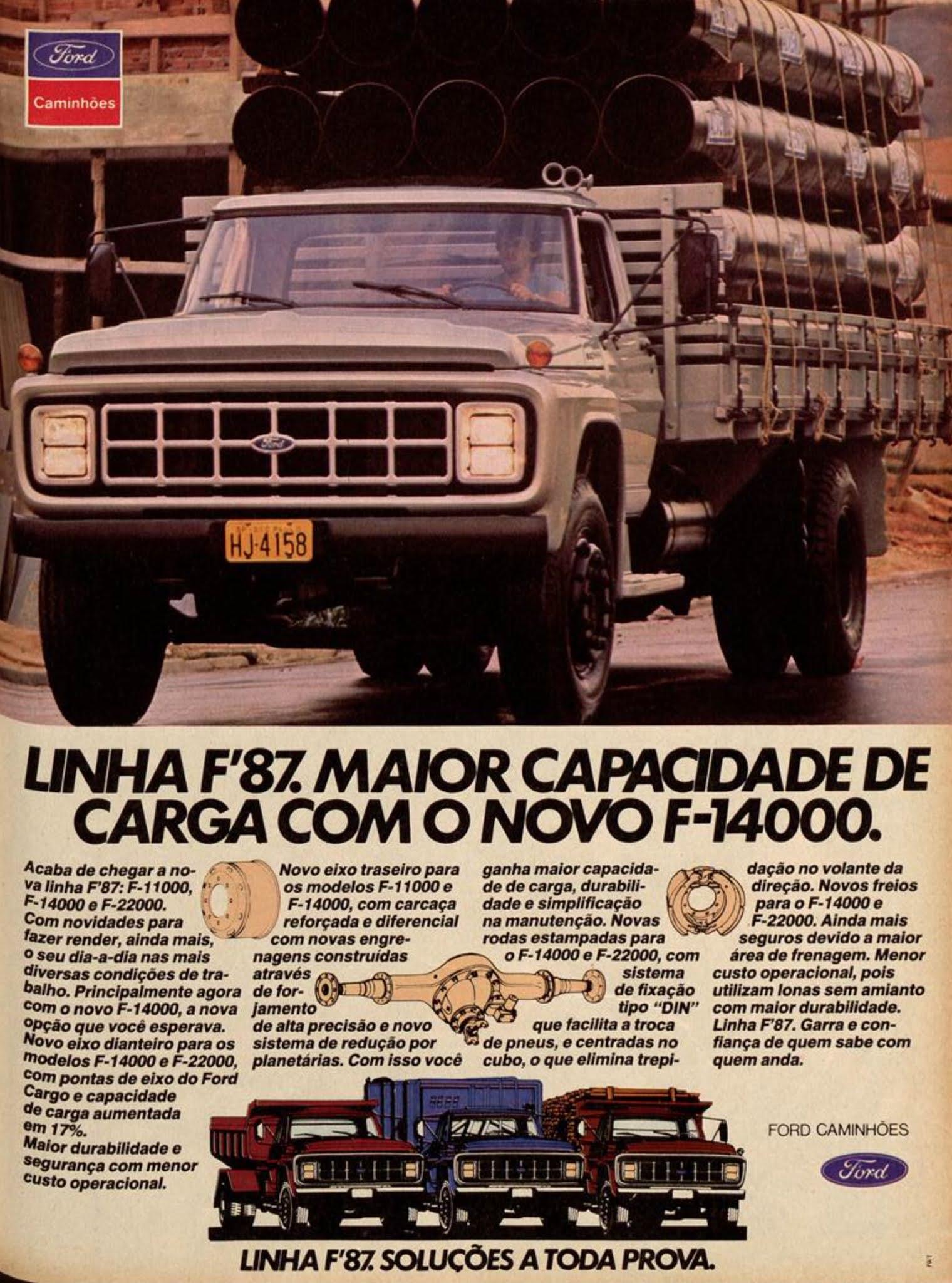 Propaganda antiga da Ford anunciando a linha F87 de caminhões em 1987