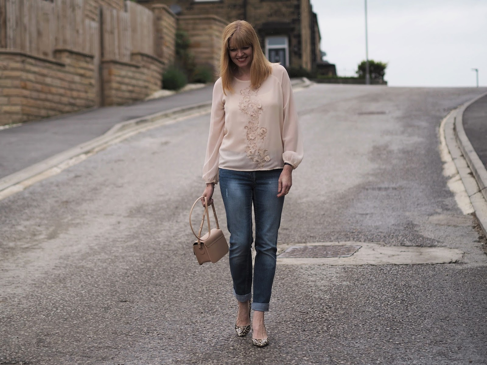 Blush embellished top, boyfriend jeans and leopard print shoes