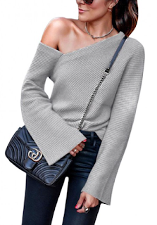 5 Chic and Classy Clothes for Fall 2020 - Naughty Light Gray Sweater Slanted Shoulder Long Sleeves Holiday