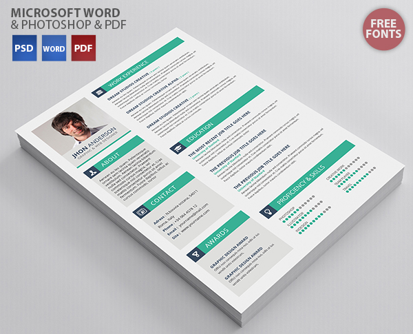 Creative Resume template - Free PSD Files, Graphic  Web Design