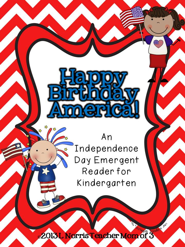 Teacher Mom Of 3 4th Of July Emergent Reader Freebie