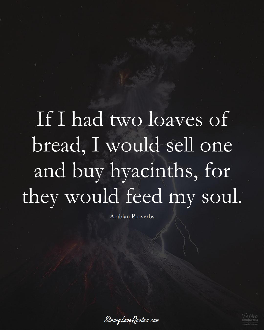 If I had two loaves of bread, I would sell one and buy hyacinths, for they would feed my soul. (Arabian Sayings);  #aVarietyofCulturesSayings