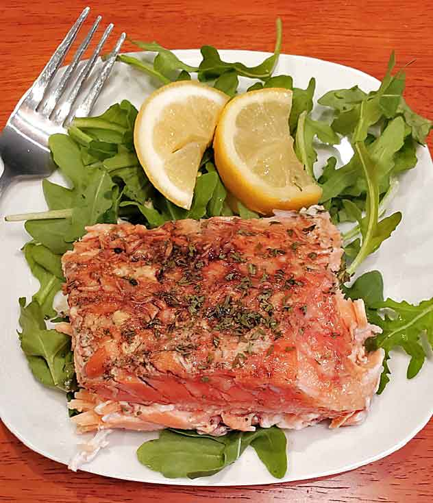 this is a lemon and dill salmon with a delicious butter sauce