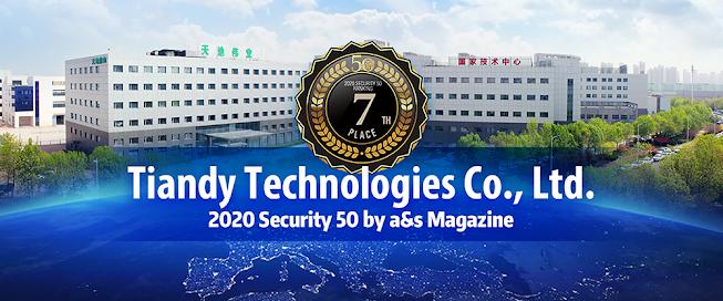 Tiandy xếp hàng thứ 7 top 50 về thiết bị an ninh toàn cầu trong năm 2020