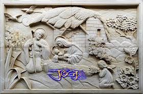 Relief batu alam gambar keluarga yesus