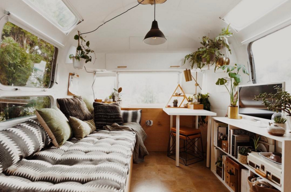 natural wood, pattern, and a lot of plants filled this vintage airstream