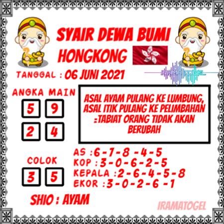 Syair Dewa Bumi HK Minggu 06-Juni-2021