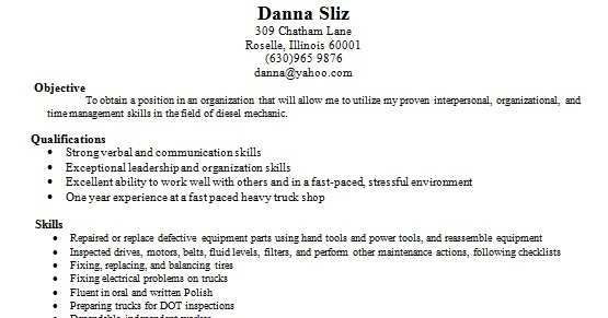 Bus Mechanic Resume Format In Word Free Download