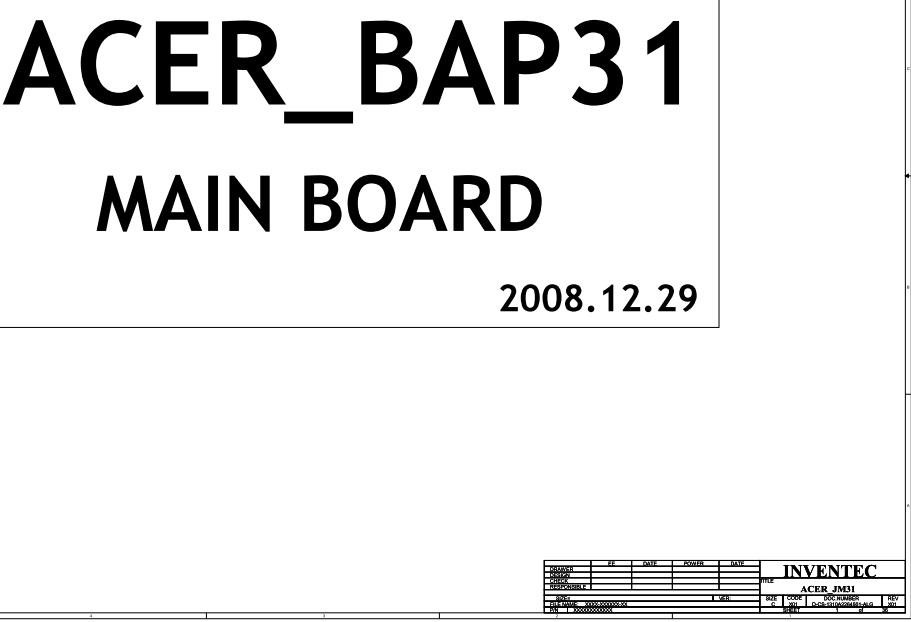 JM31 BAP31 1310A2264501-ALG RevX01 Acer Aspire 3810T INVENTEC Schematic