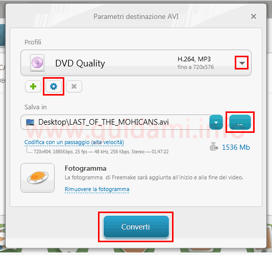Freemake Video Converter finestra parametri di conversione