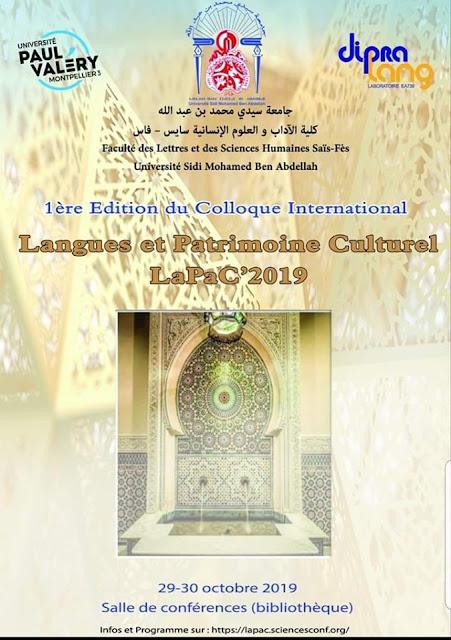 1ère édition du Colloque International LaPaC : Langues et patrimoine culturel - Fes 29-30 octobre 2019
