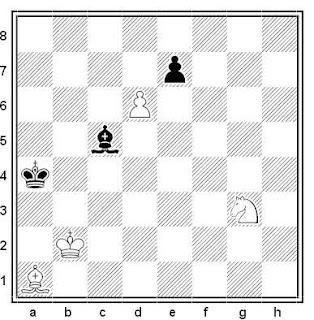 Estudio artístico de ajedrez compuesto por V. Vlasenko (4º Premio, Moscú-850, 1997)