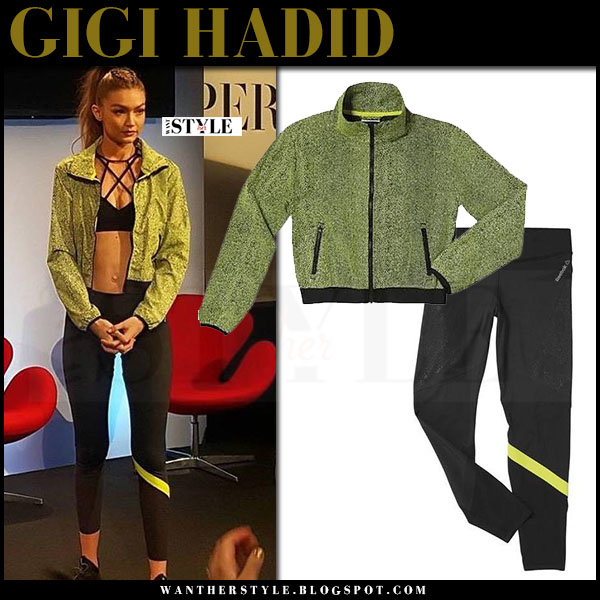 Gigi Hadid in green jacket and black leggings reebok what she wore