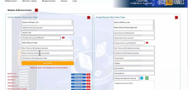EZ pro funnels creating webinars