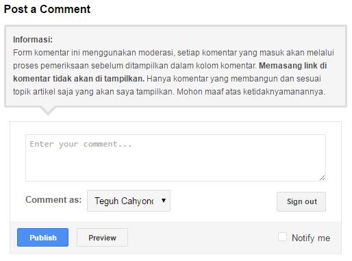 contoh hasil pemasangan pesan komentar di blog