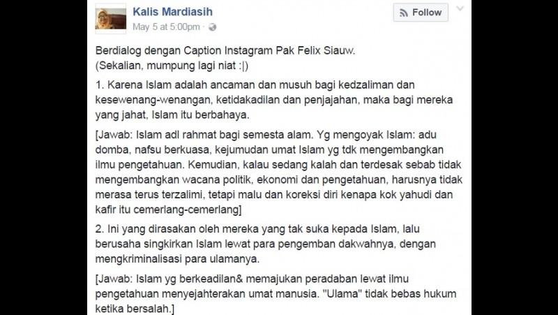 Kalis Mardiasih kritik Felix Siauw