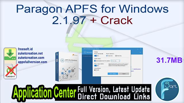 Paragon APFS for Windows 2.1.97 + Crack