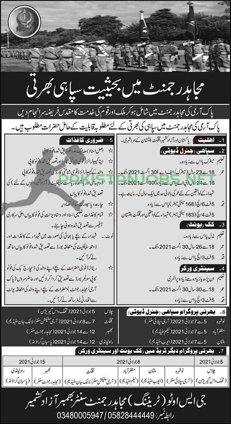 Join Mujahid Force Pak Army Jobs June 2021