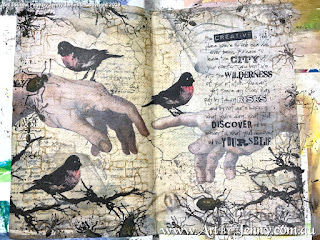 art journal page by Jenny James featuring birds and insects from Tim Holtz Stamps