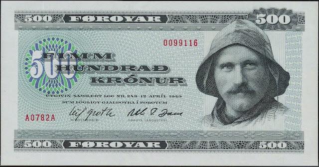 Faroe Islands Banknotes 500 Krone banknote 1978 Faroese fisherman