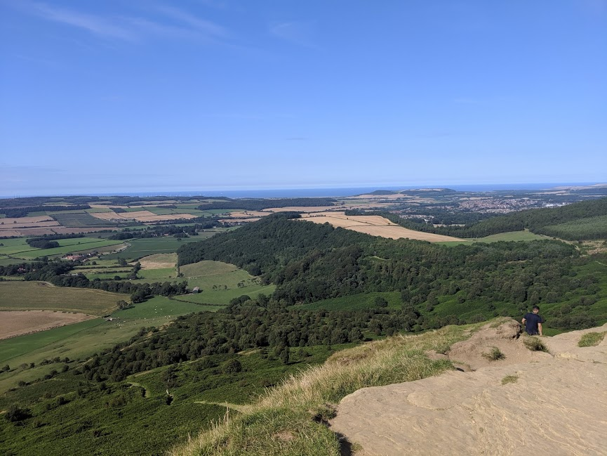 Climbing Roseberry Topping with Kids - view from the summit