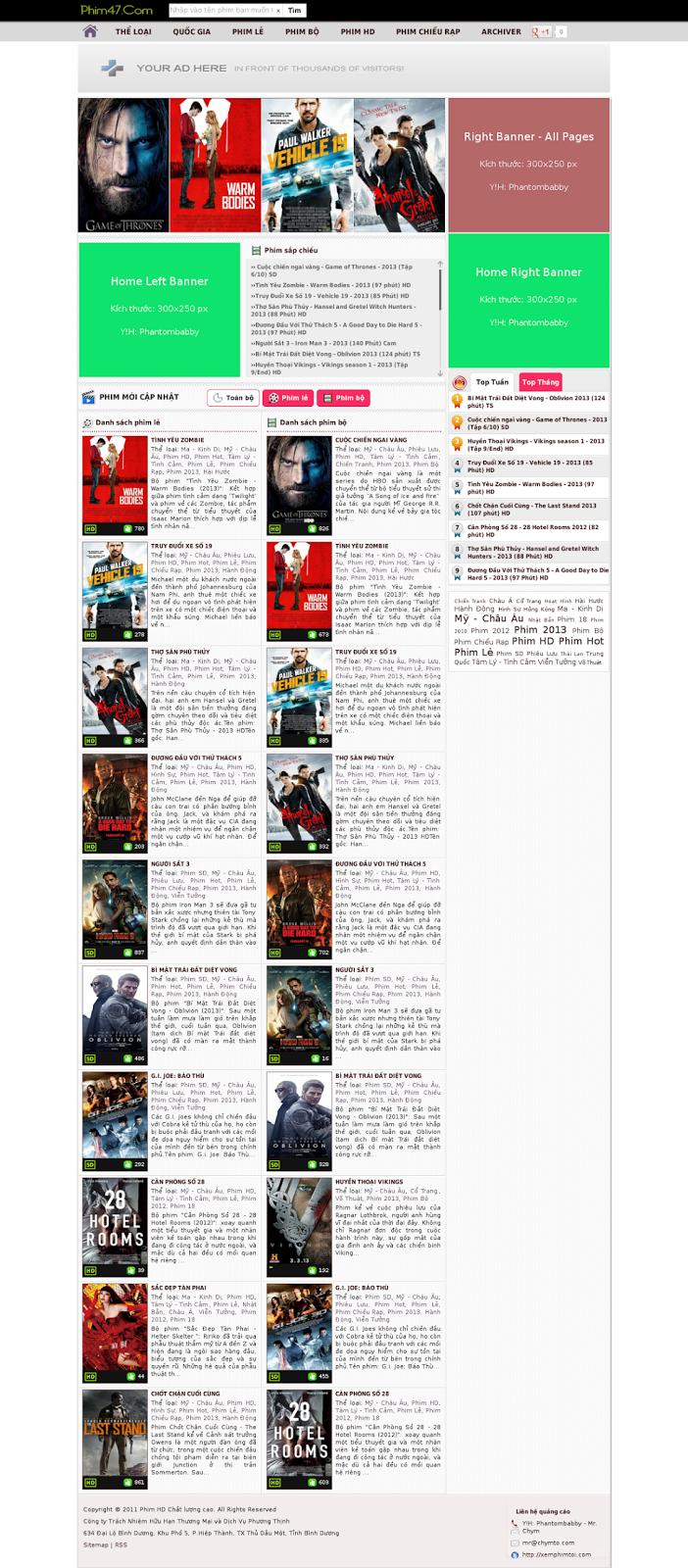 Share Template xem phim Online cực đẹp cho Blogspot