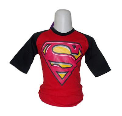 Kaos Raglan Anak Karakter Superman Merah