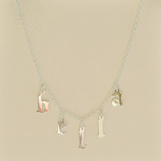 hanging gothic letter name necklace