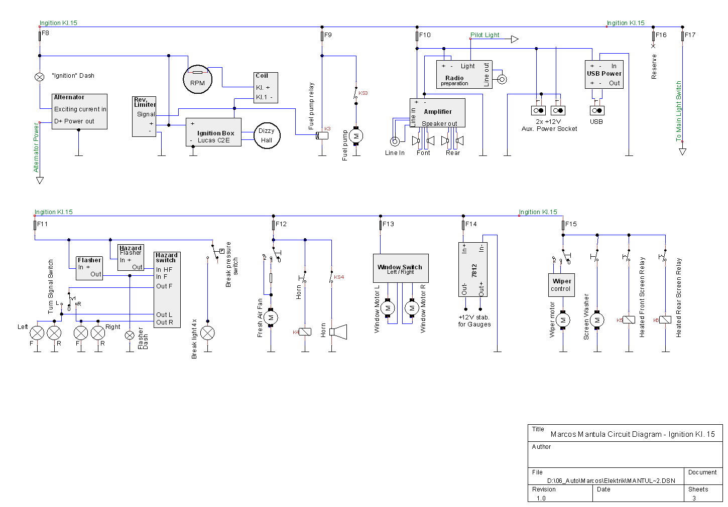 Marcos Mantula A Restoration Story 41 The Electric Wiring Circuit Diagram For Tinycad I Have Choosen Free And Easy Tool Used Different Style To Draw Diagrams It Is Not As They Are Wired Arranged Like Current