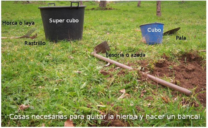 Cubo para hierba, cubo para piedras, herramientas varias