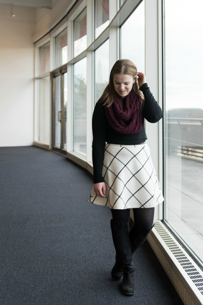 The Windowpane Skirt | Something Good, women, fashion, style, winter style, winter fashion, outfits, clothing, loft window pane skirt, over the knee boot, old navy shoes, tights, long sleeve black shirt, cable knit infinity scarf