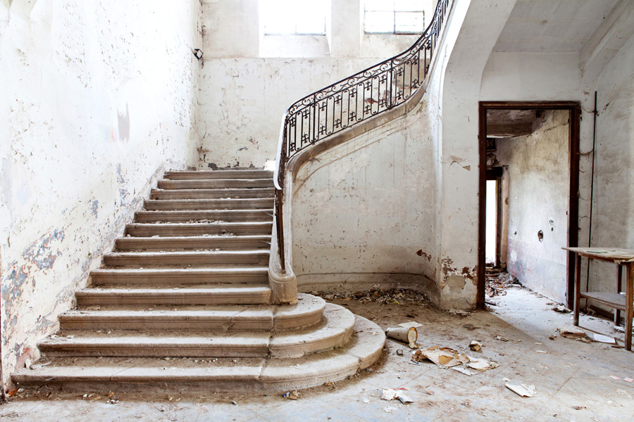 Magnificent but neglected stone staircase in Chateau de Gudanes - found on Hello Lovely Studio