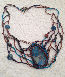 Wrack and Ruin, freeform bead woven necklace by Karen Williams