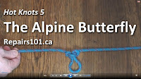 "alpine butterfly knot tied in blue 1/4"" braided line"