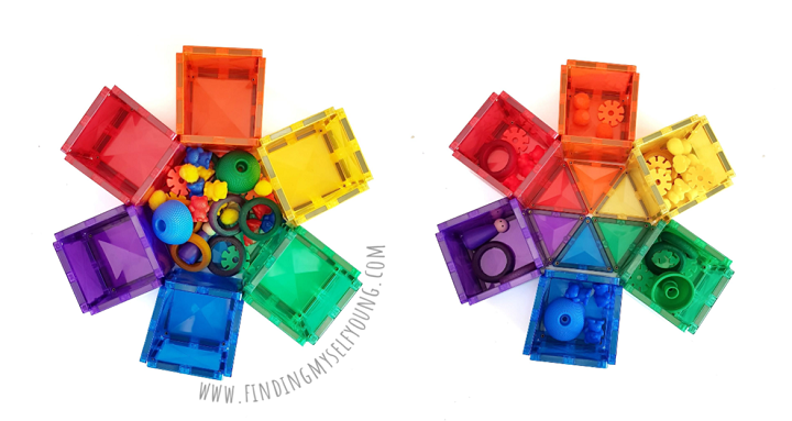 Connetix magnetic tiles colour sorting flower filled with different coloured items.