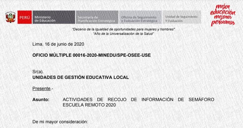 semáforo escuela remoto 2020 oficio multiple 0016-2020