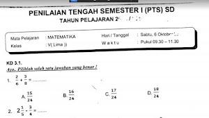 Soal Penilaian Tengah Semester 1 Matematika Kelas 5 K-13