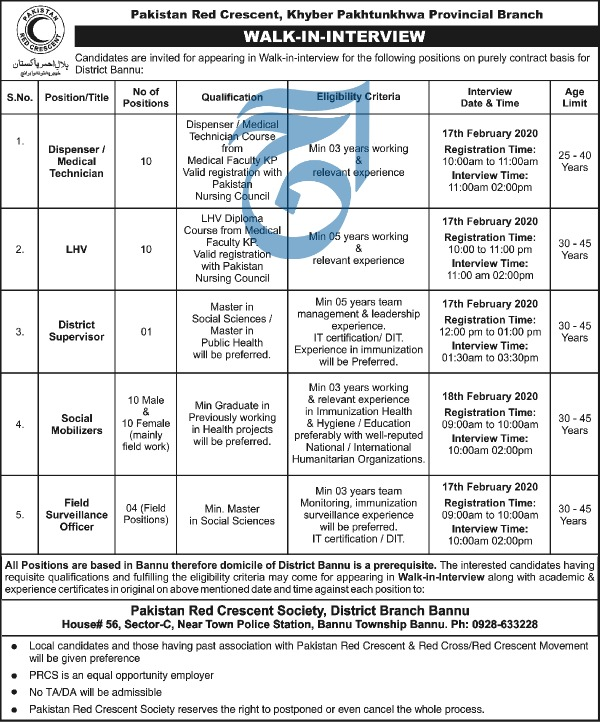 Jobs in Pakistan Red Crescent Society KPK Walk In Interview 2020
